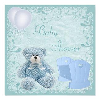 Chic Blue Teddy Crib Baby Boy Shower Custom Invitations