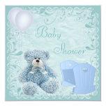 "Chic Blue Teddy & Crib Baby Boy Shower 5.25"" Square Invitation Card"