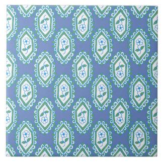 Chic Blue Vintage Periwinkle Floral Pattern Ceramic Tile