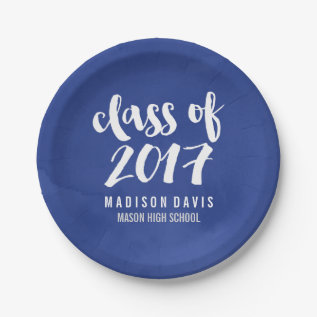 Chic Blue Watercolor | Graduation Party Paper Plate at Zazzle