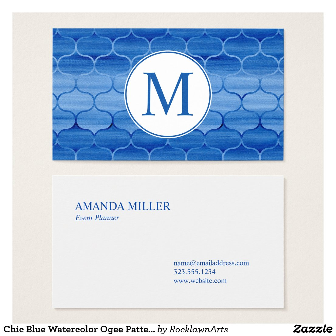 Chic Blue Watercolor Ogee Pattern with Monogram Business Card