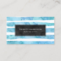 Chic Blue Watercolor Stripes | Chalkboard Business Card