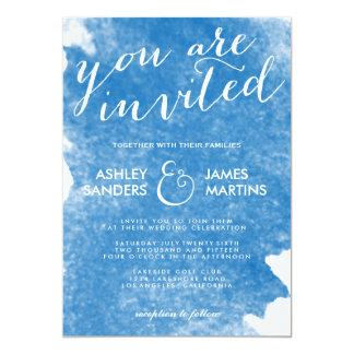 CHIC BLUE WATERCOLOR WEDDING INVITATION