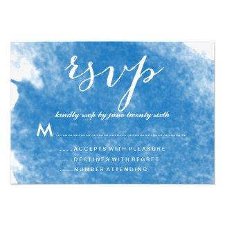 BLUE WATERCOLOR WEDDING RSVP CARDS