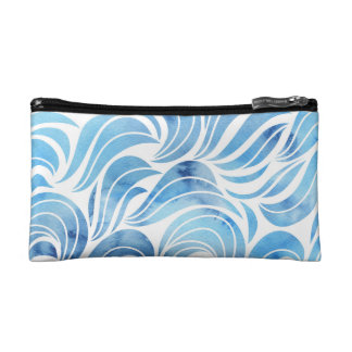Chic blue Wave Pattern Cosmetic Bag