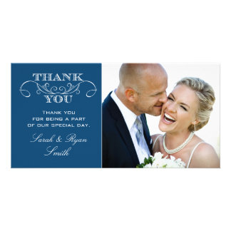Chic Blue Wedding Photo Thank You Cards Photo Card