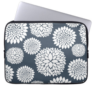 Chic Blue White Flowers Laptop Sleeves