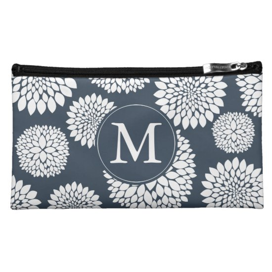 Chic Blue White Flowers Monogram Cosmetic Bag