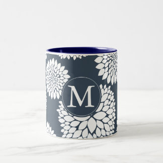 Chic Blue White Flowers Monogram Two-Tone Coffee Mug