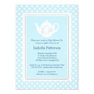 Chic Blue | White Teapot Baby Shower Tea Party Card