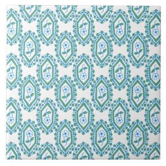 Chic Blue White Vintage Periwinkle Floral Pattern Tile