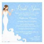 Chic Blue Wine Damask Bridal Shower Invitation