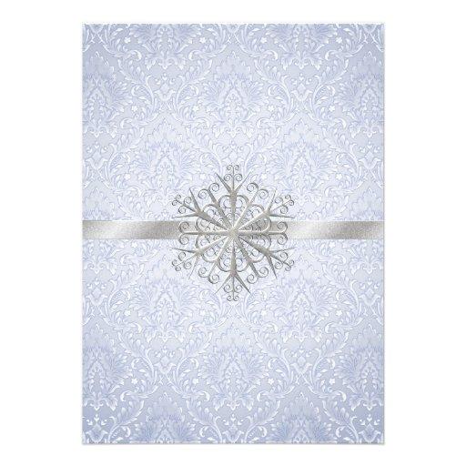 Chic Blue Winter Snowflake Wedding Invitation 5 X 7 Invitation Card