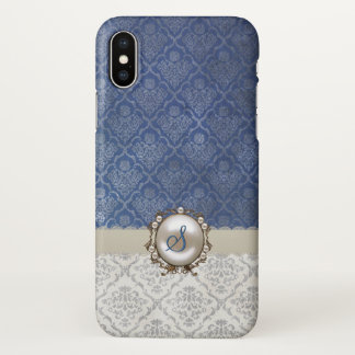 Chic Blue & Winter White Damask iPhone X Case