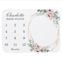 Chic Blush Dusty Pink Floral Monthly Milestone Baby Blanket