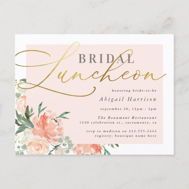 Chic Blush & Gold Script Floral Bridal Luncheon Invitation Postcard