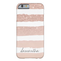 Chic blush pink faux rose gold stripes custom barely there iPhone 6 case
