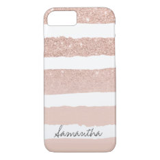 Chic blush pink faux rose gold stripes custom iPhone 7 case at Zazzle