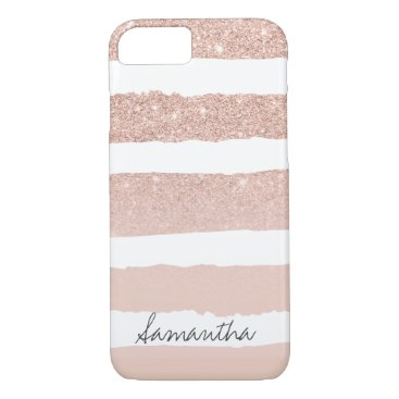 Chic blush pink faux rose gold stripes custom iPhone 7 case