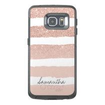 Chic blush pink faux rose gold stripes custom OtterBox samsung galaxy s6 edge case