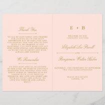 Chic Blush Pink & Gold Wedding Program Template