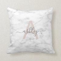 Chic Blush Pink & Gray Marble Name Monogram Throw Pillow