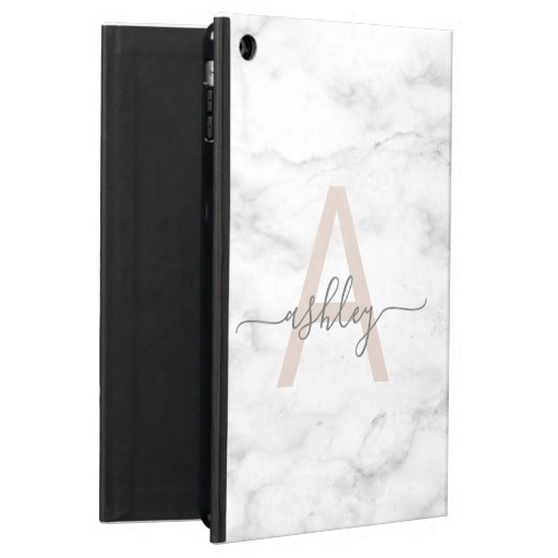 Chic Blush Pink Marble Monogram Case For iPad Air