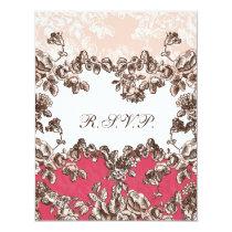 Chic Blush Pink Vintage Floral Wedding Card