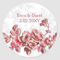 Chic Blush Pink Vintage Floral Wedding Classic Round Sticker