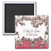 Chic Blush Pink Vintage Floral Wedding Magnet
