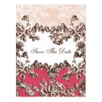 Chic Blush Pink Vintage Floral Wedding Postcard