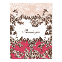 Chic Blush Pink Vintage Floral Wedding Postcard