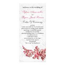 Chic Blush Pink Vintage Floral Wedding Rack Card