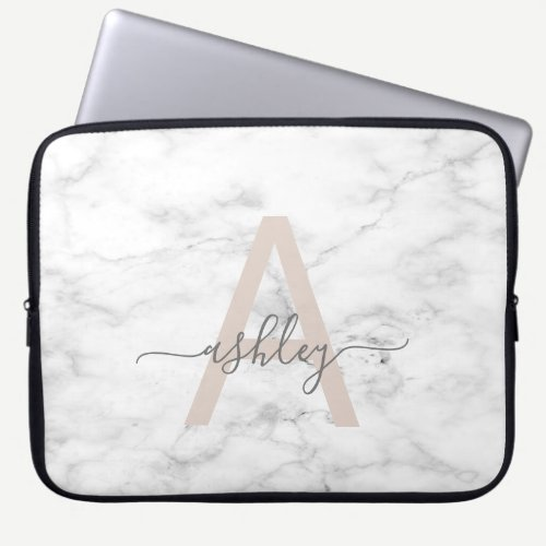 Chic Blush Pink White Marble Script Name Monogram Laptop Sleeve