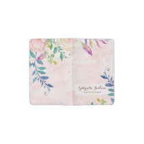 Chic Blush Watercolor Floral Monogram Custom Text Pocket Moleskine Notebook