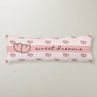 "CHIC BODY PILLOW_""SWEET DREAMS"" HEARTS/STRIPES BODY PILLOW"