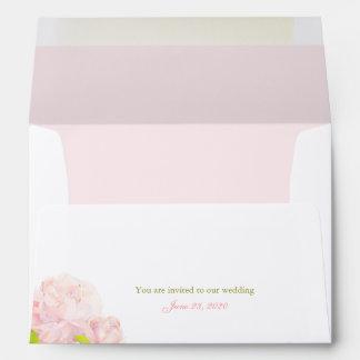 Chic Bohemian Garden Peony Wedding A7 Envelopes