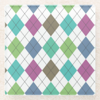 Chic Boho Argyle Pattern Glass Coaster