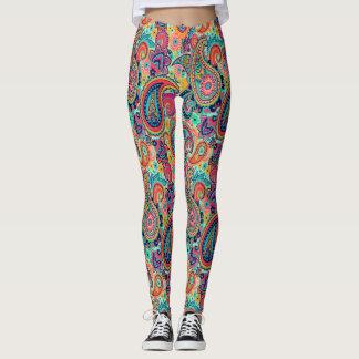 Chic Boho Paisley Rainbow Pattern Leggings