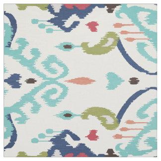 Chic bold blue turquoise white ikat tribal pattern fabric