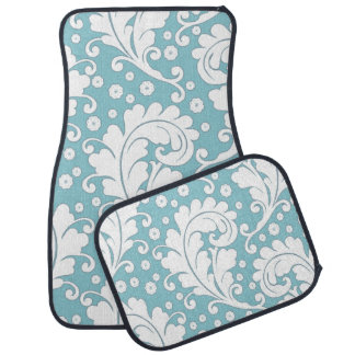 Chic Bold Graphic Blue and White Damask Floor Mat