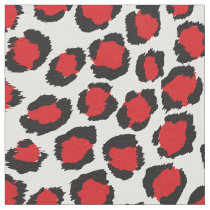 Chic bold red black white cheetah print pattern fabric