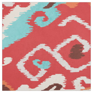 Chic bold red turquoise ikat tribal patterns fabric