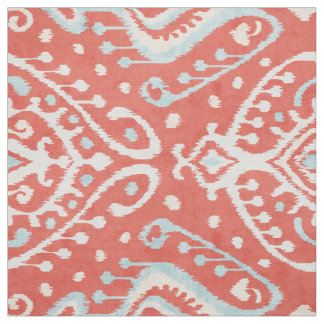 Chic bold red turquoise white ikat tribal patterns fabric