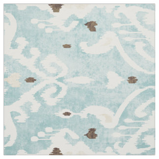 Chic bold turquoise white ikat tribal patterns fabric