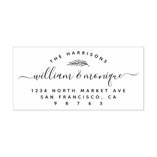 Chic Botanical Handwritten Wedding Return Address Rubber Stamp