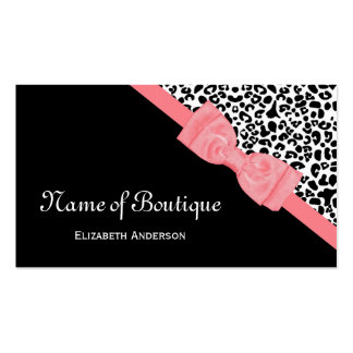 Chic Boutique Black and White Leopard Pink Ribbon Business Card Template