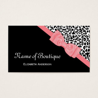 Chic Boutique Black and White Leopard Pink Ribbon Business Card