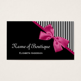 Chic Boutique Black and White Stripes Pink Ribbon Business Card