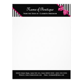 Chic Boutique Black and White Stripes Pink Ribbon Letterhead